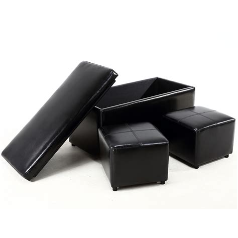 ottoman footrest storage 3pc ottoman bench storage lid tray footrest coffee table