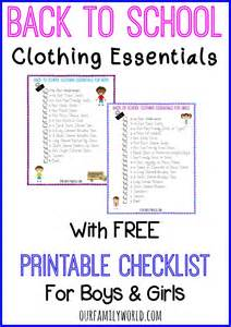 back to clothing essentials with printable checklists