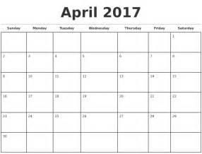 April Calendar Template by April 2017 Monthly Calendar Template