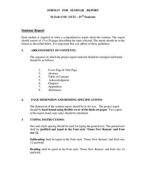 format for seminar report m tech cse ece ivth