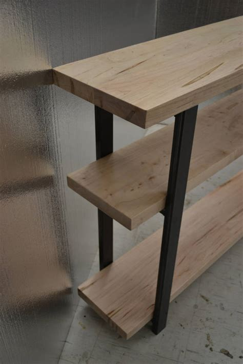 maple sofa table leg ambrosia maple console table with industrial steel legs by