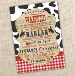 cowboy themed western birthday invitation 4x6 or 5x7 digital