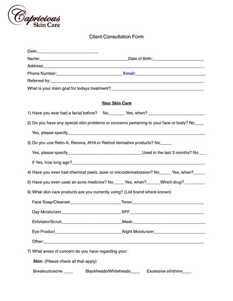 personal consultation template consultation form template form templates