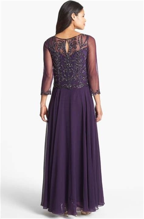 j kara beaded bodice gown j kara beaded bodice mesh gown in multicolor plum multi