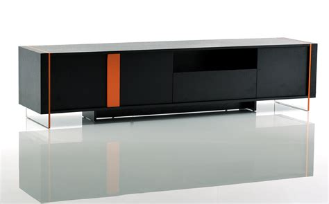 Contemporary Black Oak and Orange Floating TV Stand Austin
