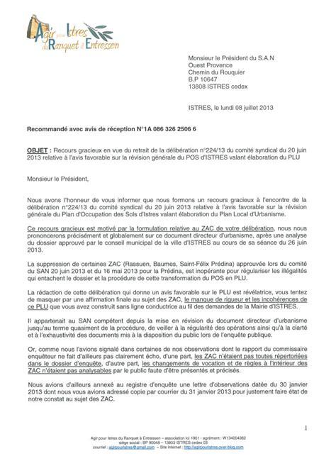 Une Lettre De Recours Visa Plu D Istres Recours Gracieux Contre La D 233 Lib 233 Ration Du San Ouest Provence Donnant Avis