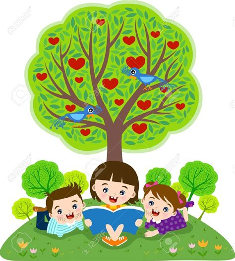 tree children reading the tree clipart clipartsgram