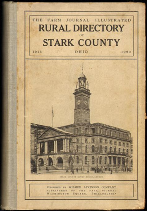 Records Stark County Ohio Rural Directory Of Stark County Ohio 1915 1920 Canton The Farm Journal Illustrated
