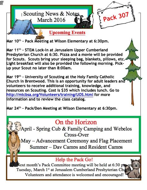 boy scout newsletter template cub scout pack 307 murfreesboro tn