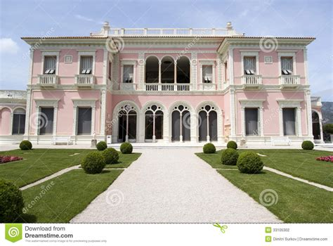 French European House Plans front view of the villa ephrussi de rothschild stock