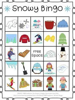 Winter Bingo Cards Free Printable