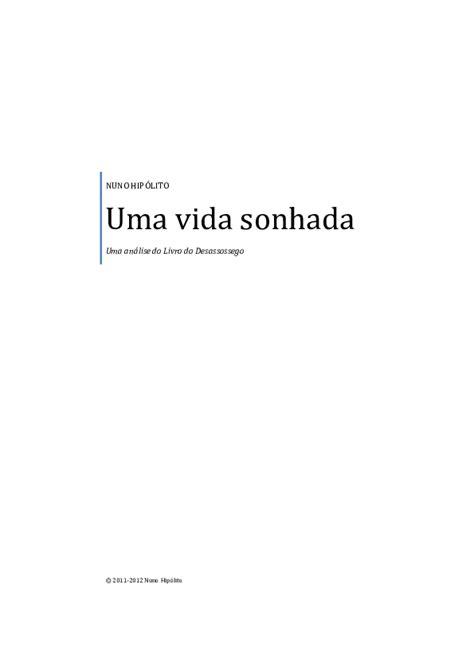 (PDF) Análise livro do Desassossego uma vida sonhada