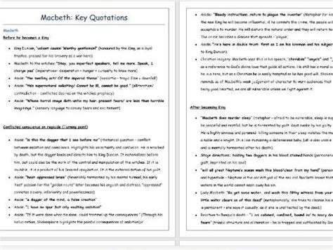 themes in macbeth gcse macbeth key quotations revision highly recommended by