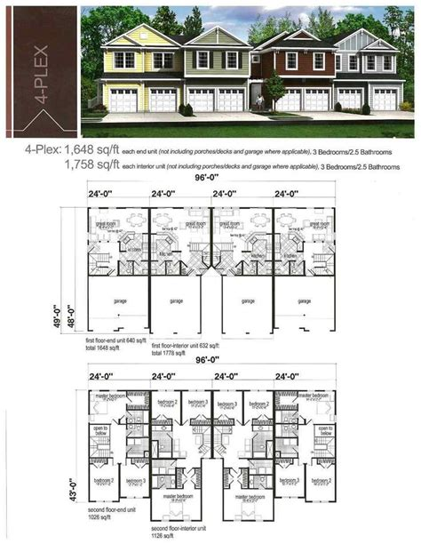 Four Family House Plans by Simple 4 Plex House Plans