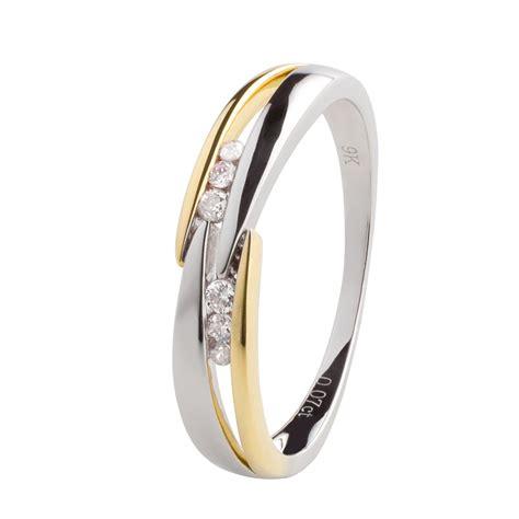 Verlobungsring Damen by Damen Gold Ring 375 Gelbgold Wei 223 Gold 6 Diamanten