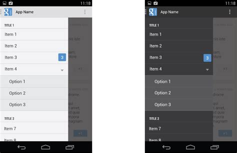 drawer layout in android studio android设计和开发系列第二篇 navigation drawer design bvin 博客园