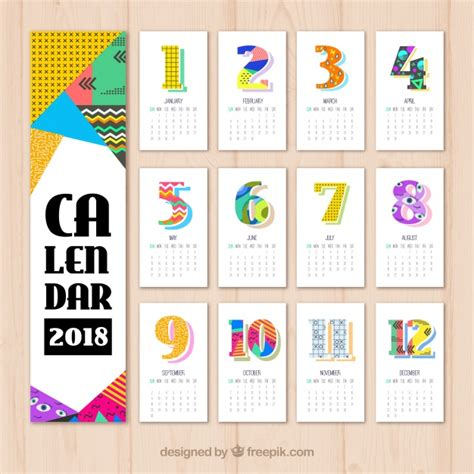 Calendã 2018 Vetor 2018 Calendar With Colored Geometric Shapes Vector Free