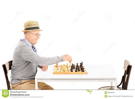 Senile Old Man Playing A Game Of Chess Alone Royalty Free Stock Images   Image: 38659979