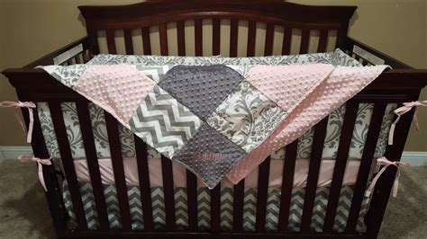 Girl Crib Bedding Light Pink Gray Chevron And White Pink And White Damask Crib Bedding