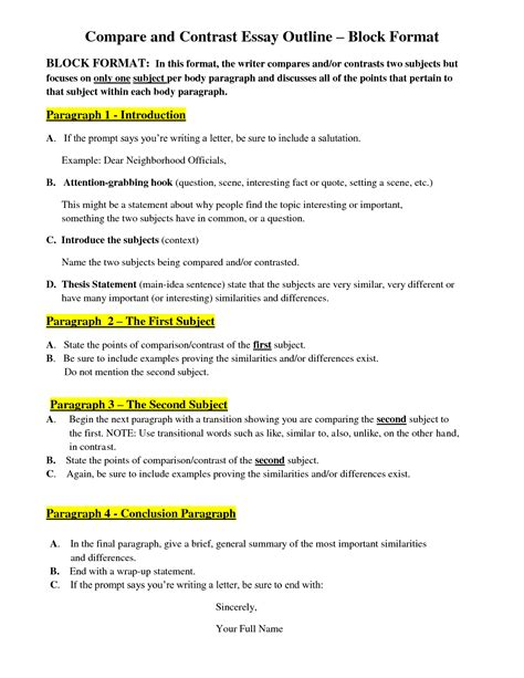 Compare And Contrast Essay Outline Format by Block Format Essay Writefiction581 Web Fc2
