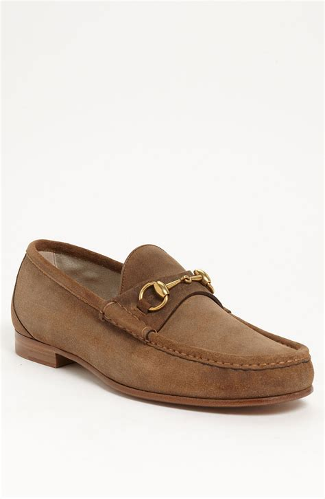 suede gucci loafers gucci roos suede bit loafer in brown for lyst