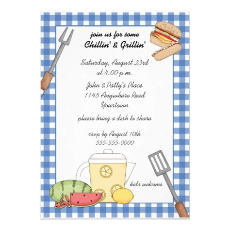cookout invitation template summer cookout invitation 5 quot x 7 quot invitation card zazzle