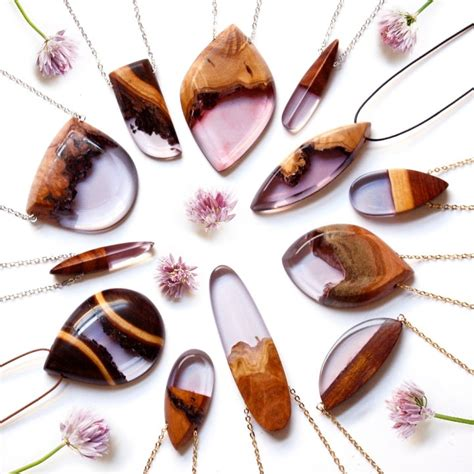 Australian Handmade Jewellery Designers - designer turns salvaged wood fragments into resin jewelry