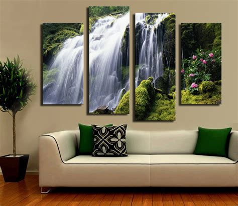 modern home wall decor 2015 sell 4 panel waterfall with green tree large hd