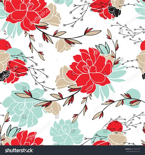 seamless pattern shutterstock hand drawn floral seamless background pattern stock vector