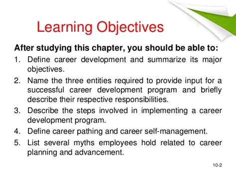 objectives for career development career development
