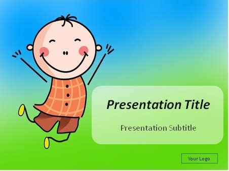 Download Happy Boy Jumping In The Air With Hands Up Powerpoint Template Kid Friendly Powerpoint Templates