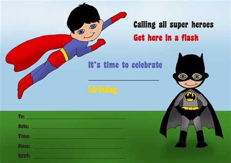 superman powers card template 14 printable birthday invitations many themes 1st