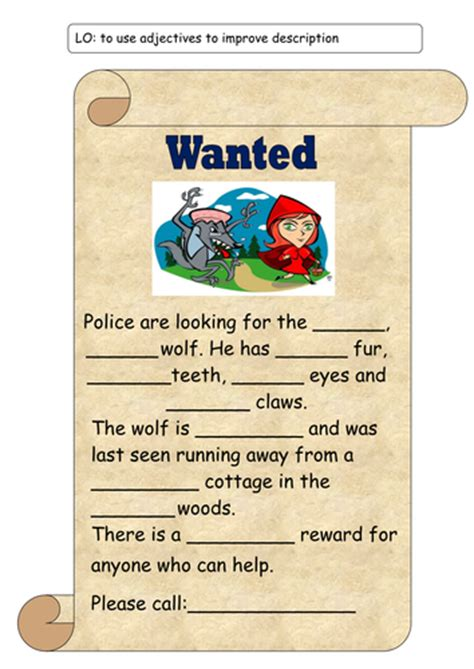 printable wanted poster for the big bad wolf big bad wolf wanted poster by kirstenstone teaching