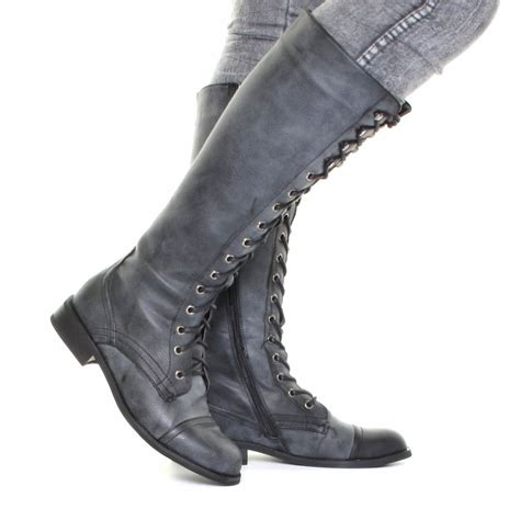 womens grey distressed knee high lace up