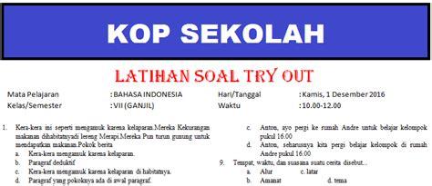 kunci jawaban ujian sekolah bahasa indonesi 2015 2016 soal try out smp bahasa indonesia kunci jawaban tahun
