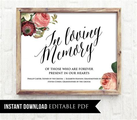 In Memory Cards Templates by Editable Wedding Sign In Loving Memory Pdf Template