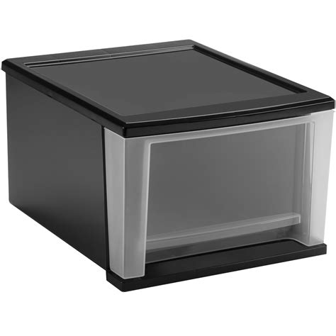 Black Plastic Drawers Stackable Plastic Storage Drawers Black In Storage Drawers