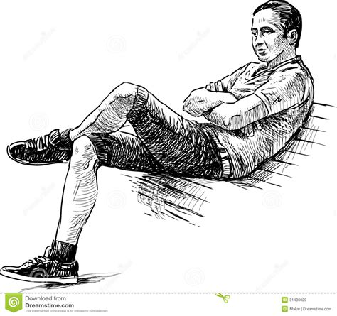 how to draw people sitting on a bench young man on a bench royalty free stock images image