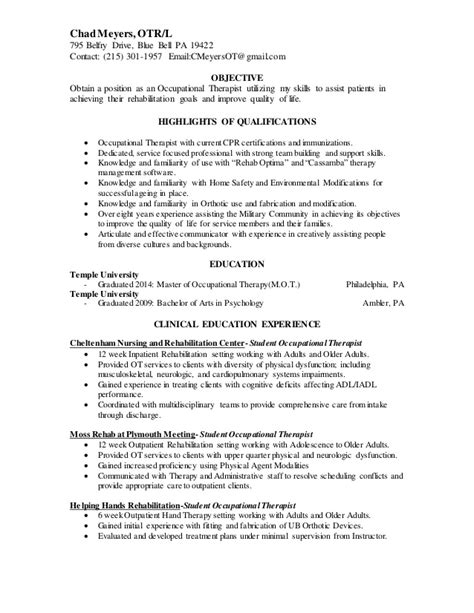 Therapy Resume Objectives by Chad Meyers Resume Occupational Therapist 2014 V2