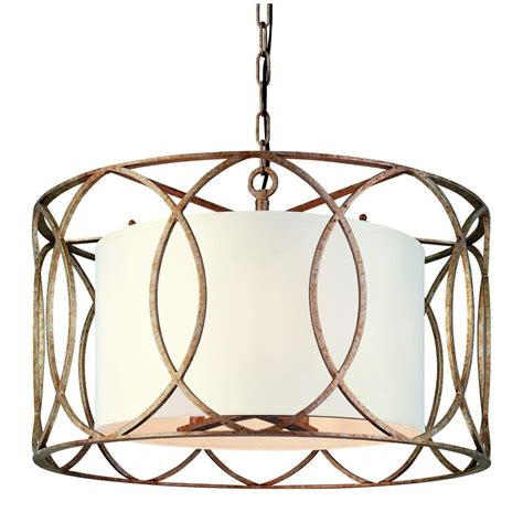 Drum Shade Pendant Chandelier Five Light Wrought Iron Chandelier With Center Drum Shade F1285sg Destination Lighting