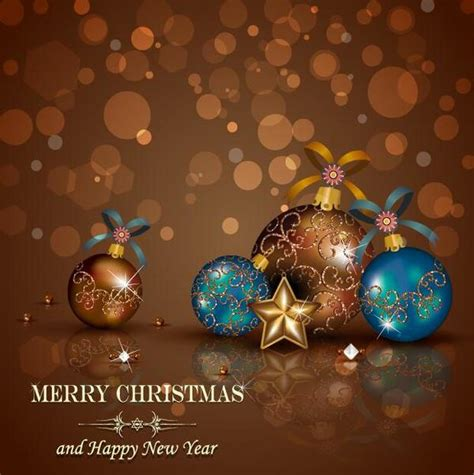 brown christmas background with baubles vector vector
