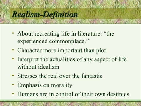 biography definition in literature realism naturalism