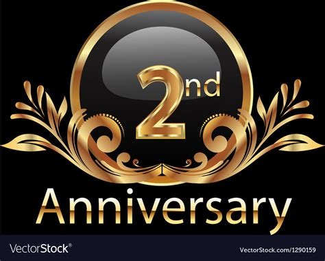 2nd anniversary birthday in gold royalty free vector image