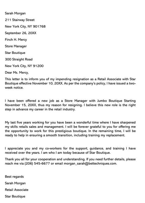 retail position resignation letter sample letters email