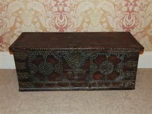 studded oak breton coffer chest coffee table