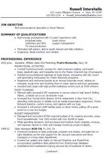 resume pr communications specialist or event planner