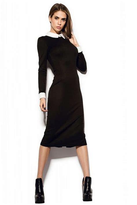 Collar Classic Dress classic black dress white collar pencil black dress