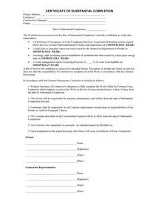 Certificate Of Substantial Completion Template by Certificate Of Substantial Completion In Word And Pdf Formats