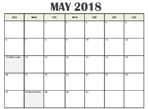 printable calendar 2018 editable printable may 2018 calendar editable