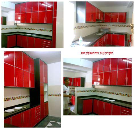 Acrylic Warna Hitam rosewood design kabinet dapur